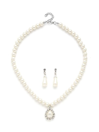 Water Drop Faux Pearl Design Necklace & Earring Set