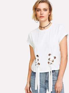 Grommet Lace Up T-shirt