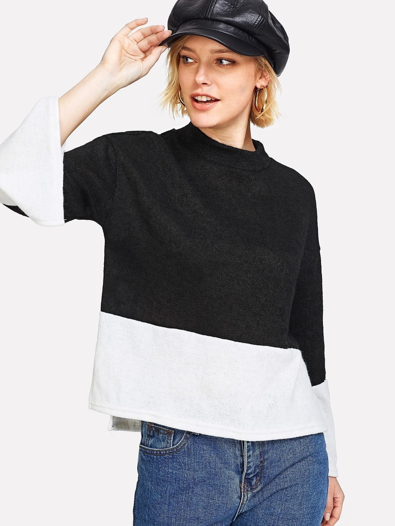 Two Tone Slit Side Knit Tee two tone drop shoulder tee