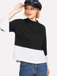 Two Tone Slit Side Knit Tee