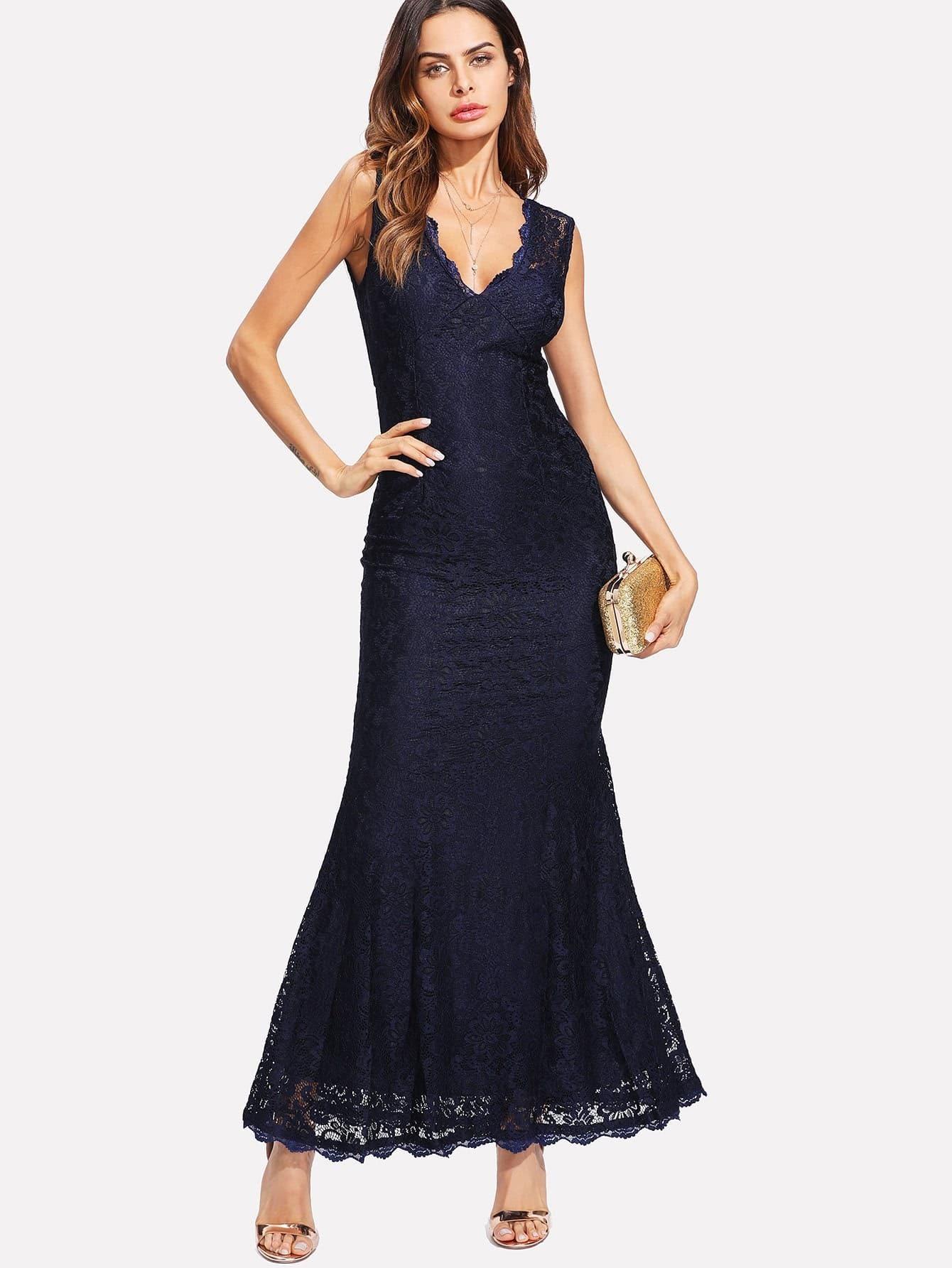 Scallop Trim Lace Dress
