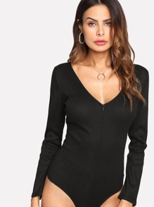 Zip Front Ribbed Bodysuit