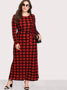 Plus Check Plaid Full Length Dress