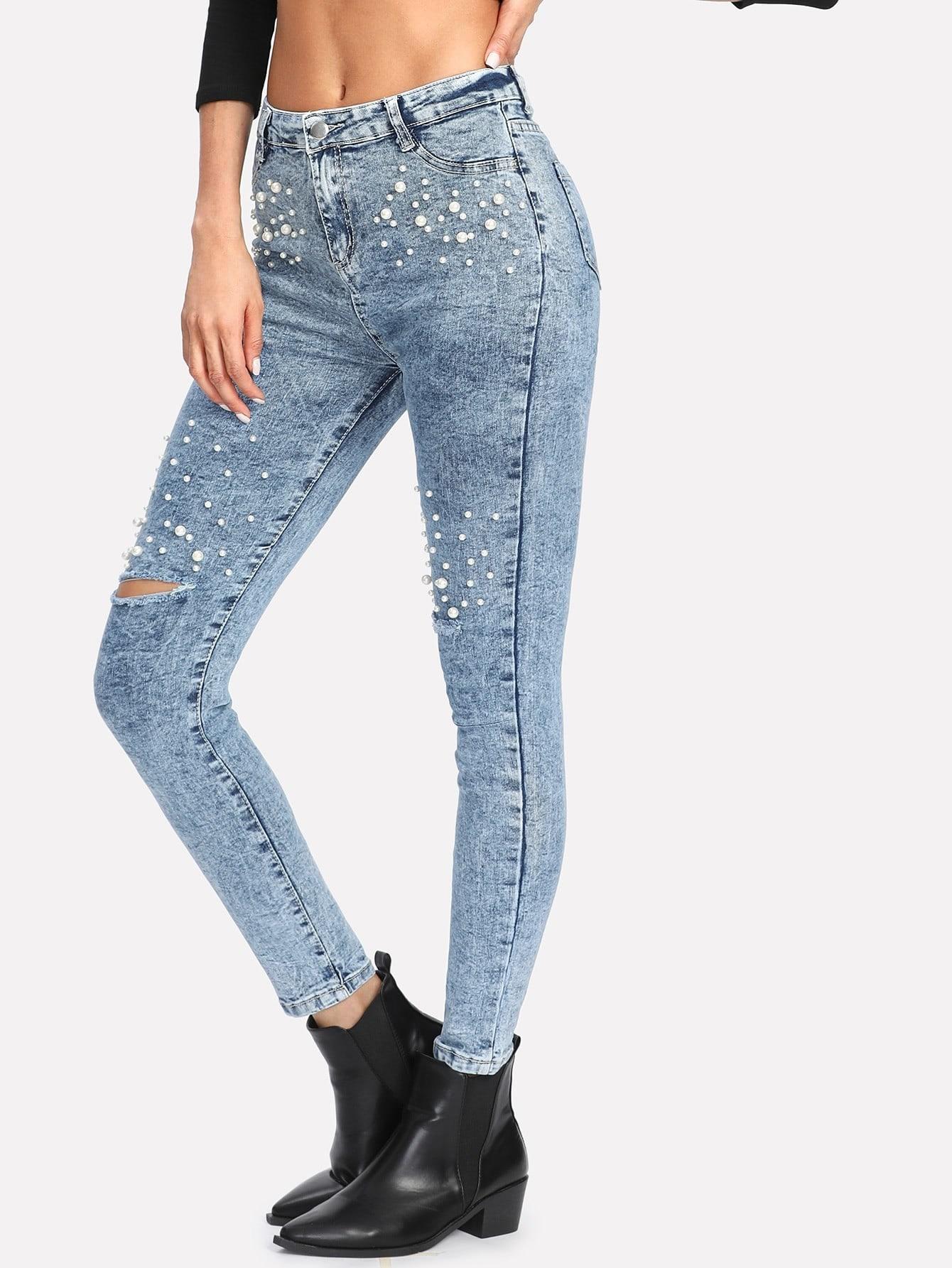 Bleach Wash Faux Pearl Detail Jeans