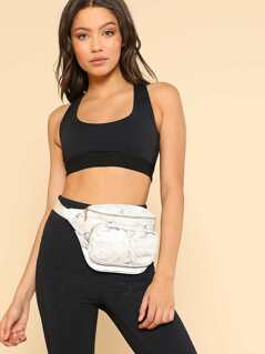 Marble Print Fanny Pack WHITE