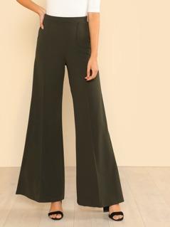 High Rise Side Pocket Flare Pants OLIVE
