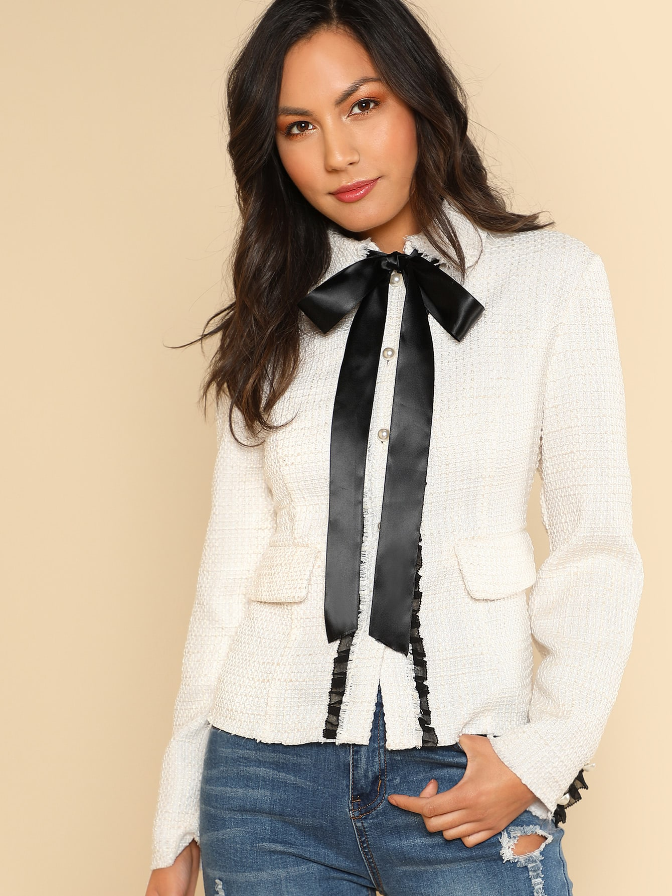 Contrast Bow Tied Neck Fitted Jacket contrast cuff fitted blazer