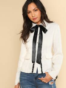 Contrast Bow Tied Neck Fitted Jacket