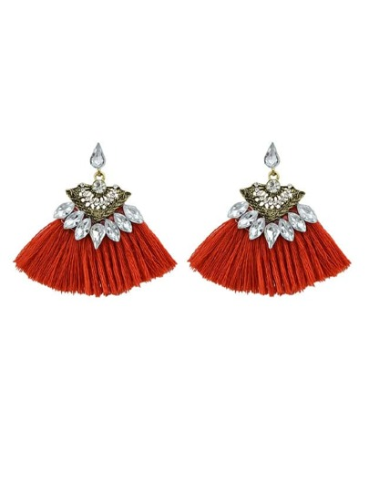 Red Luxury Rhinestone With Long Tassel Sector Shape Bohemian Earrings
