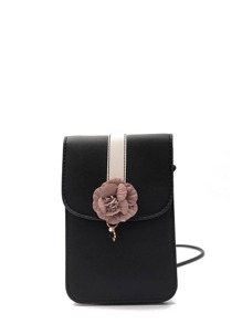 Flower Embellished Pouch Bag