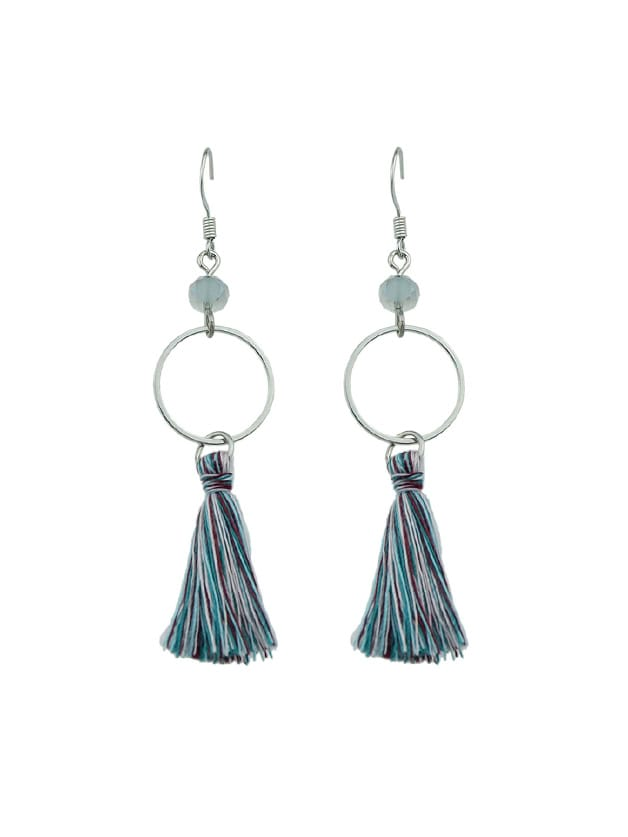 S-Green Round Circle Shape With Colorful Long Tassel Drop Earrings