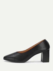 Square Toe Block Heeled PU Pumps