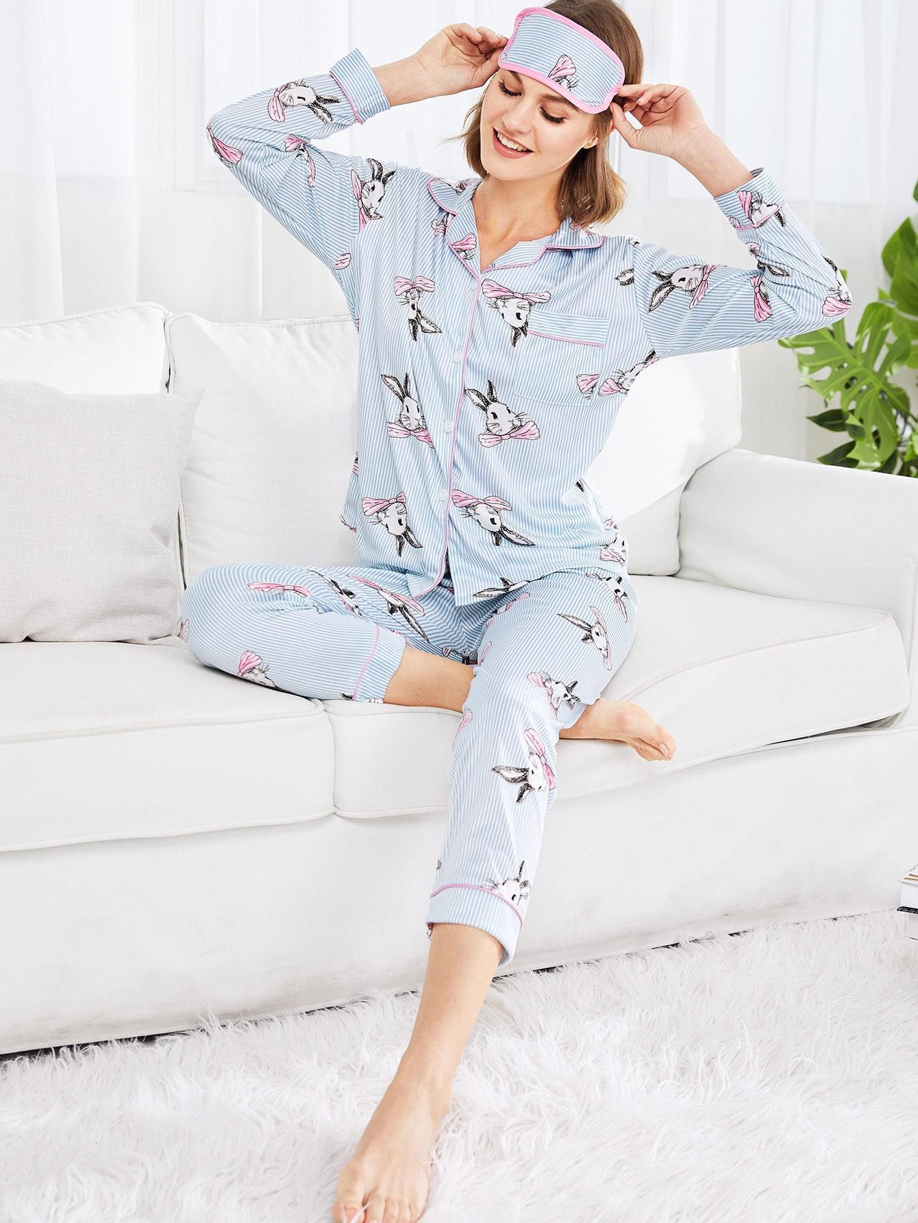 Купить Модная пижама в полоску с принтом, Rasa, SheIn
