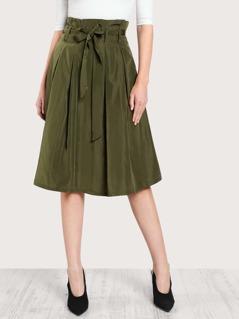 Bow Tie Waist Box Pleated Skirt