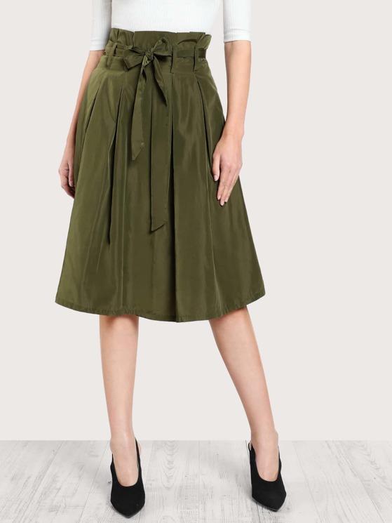 aeff2d88ab Bow Tie Waist Box Pleated Skirt | MakeMeChic.COM