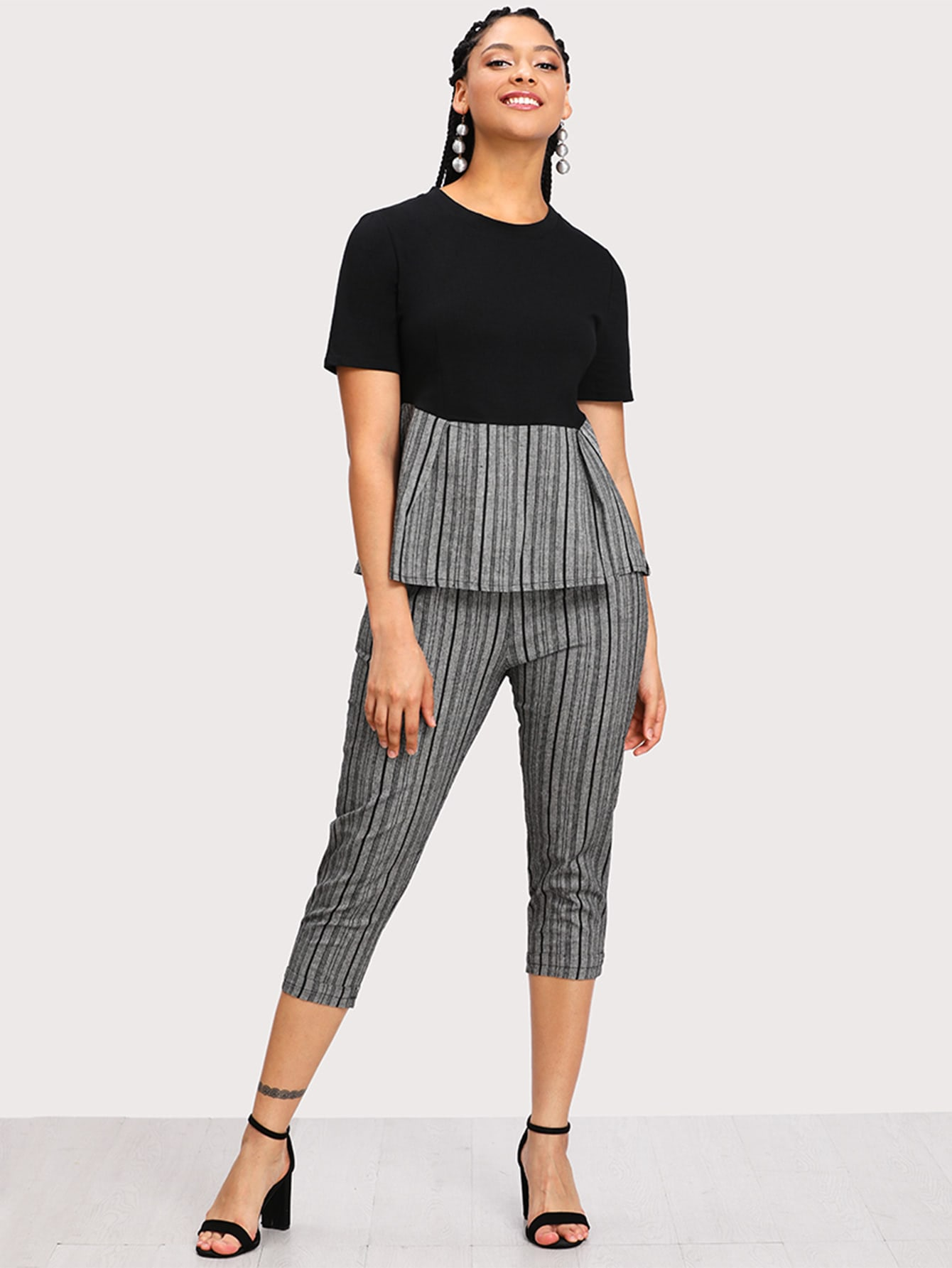 Plus Contrast Striped Hem Top With Cuffed Pants