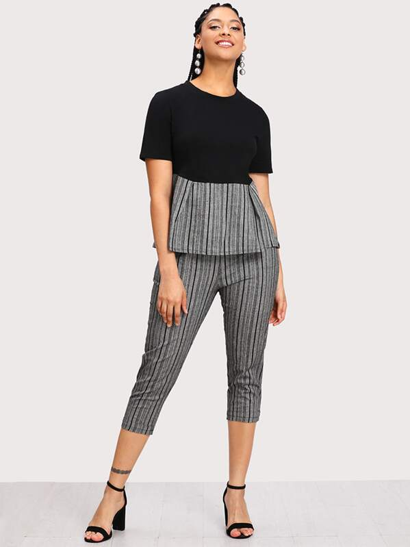 Plus Contrast Striped Hem Top With Cuffed Pants, Nadine