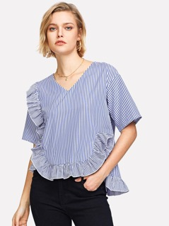 Ruffle Detail Asymmetric Striped Top