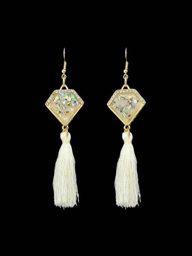 Beige Ethnic Boho Style Tassel Geometric Pattern Earrings