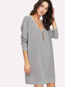 Drop Shoulder Marled Knit Tee Dress