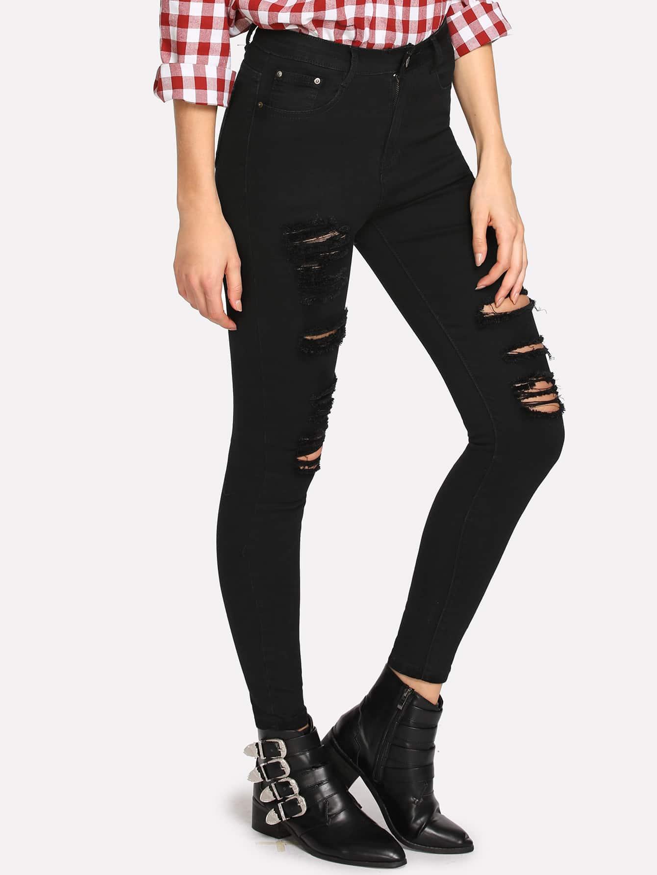 Rips Detail Dark Wash Jeans