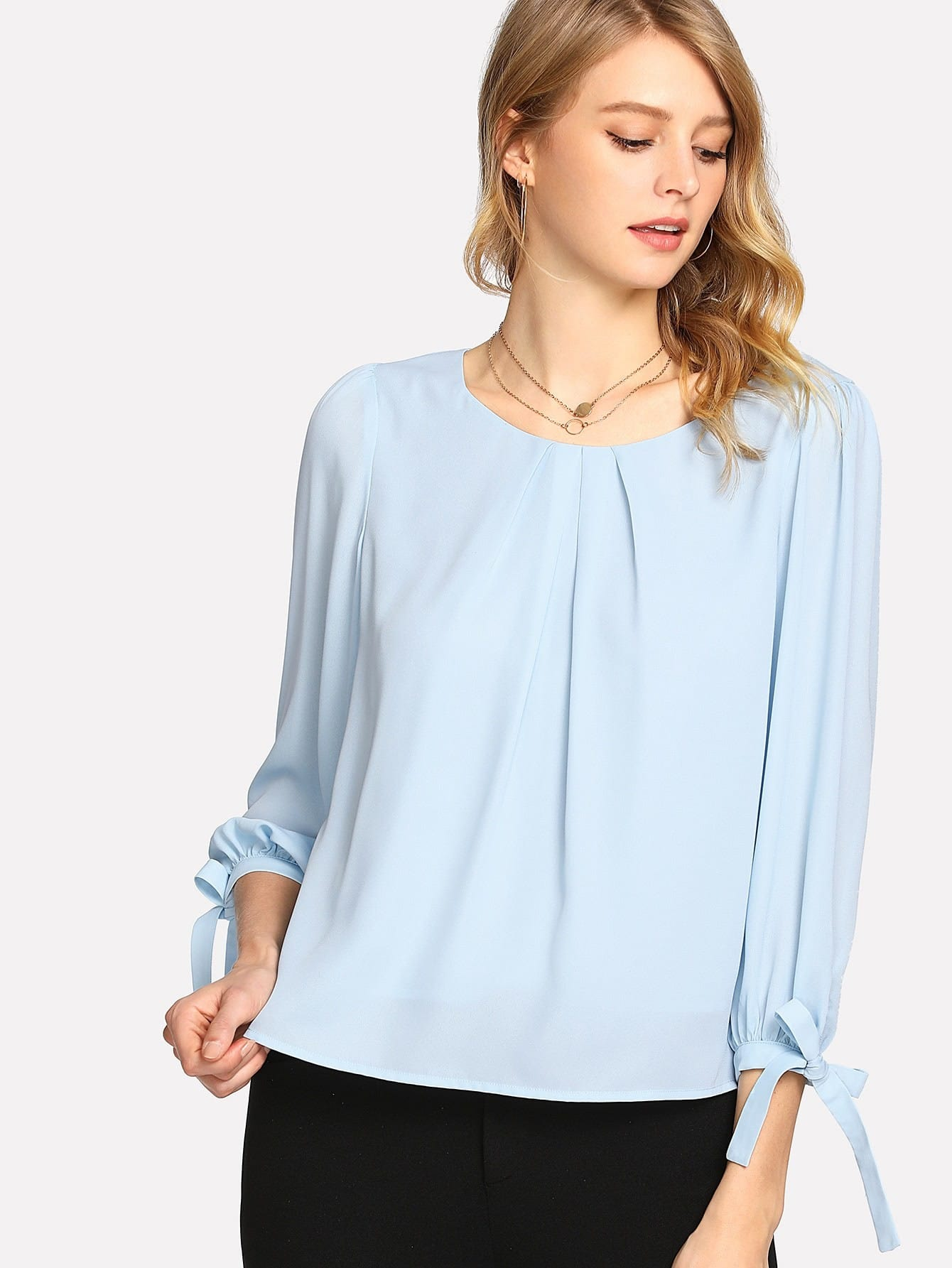 Tie Cuff Pleated Neck Top tiered pleated cuff solid top