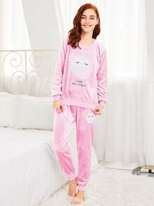 Faux Fleece Embroidered Pullover & Pants Pj Set