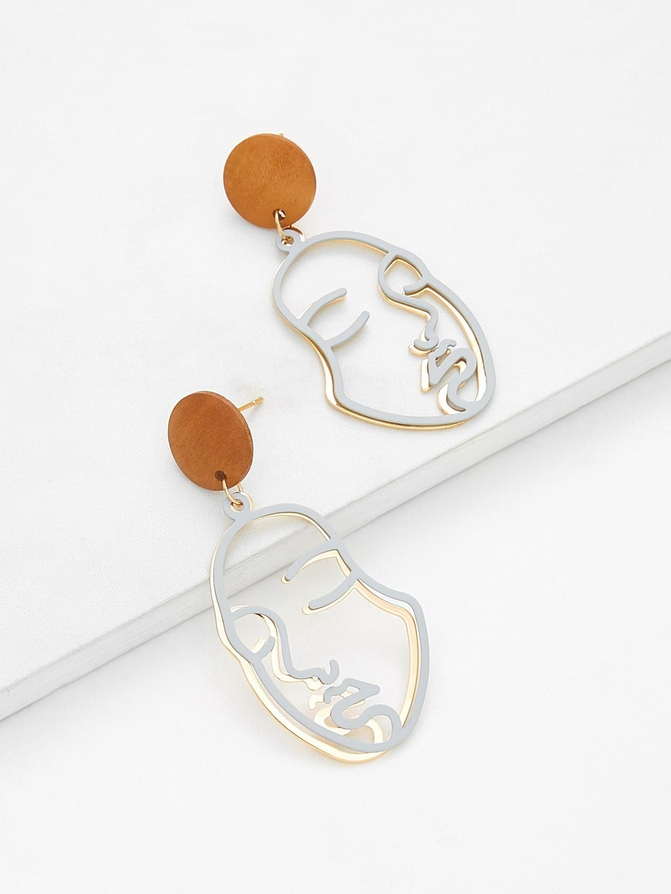 Two Tone Hollow Face Design Drop Earrings two tone drop shoulder tee