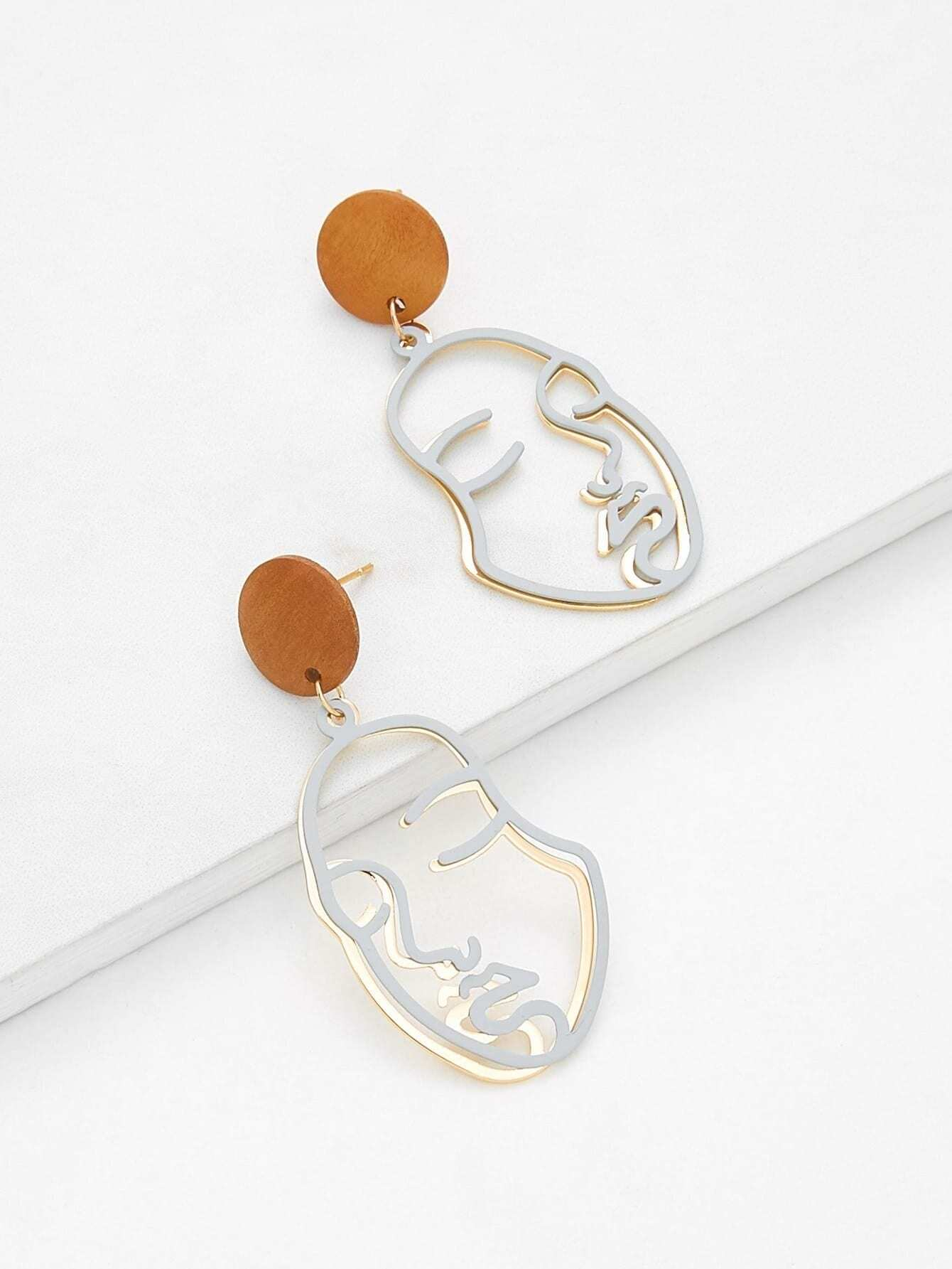 Two Tone Hollow Face Design Drop Earrings two tone heart