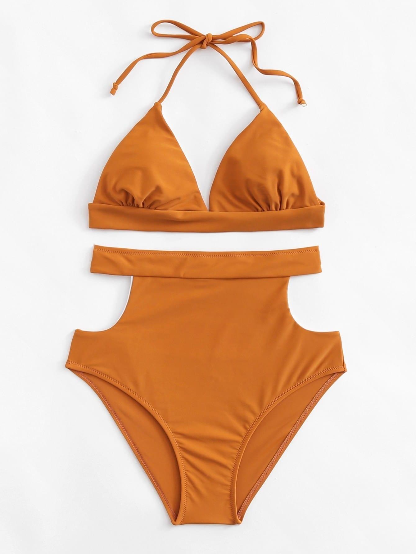 High Waist Cut Out Bikini Set padded cut out bikini set