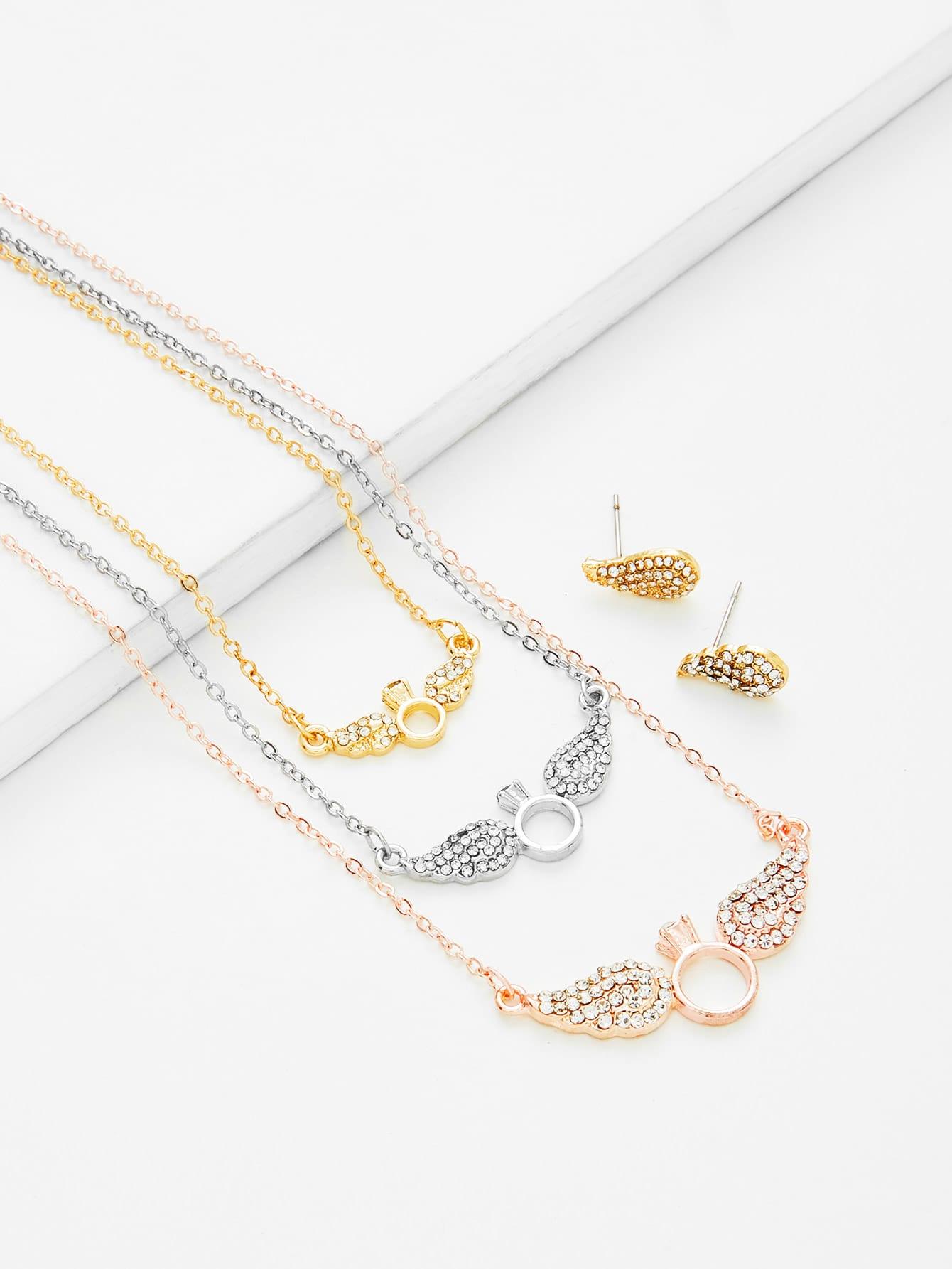 Wing Pendant Chain Necklace & Earring Set er 3789 stylish retro jewelled pendant earring navy blue 2 pcs