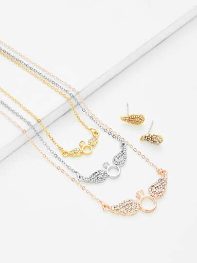 Wing Pendant Chain Necklace & Earring Set