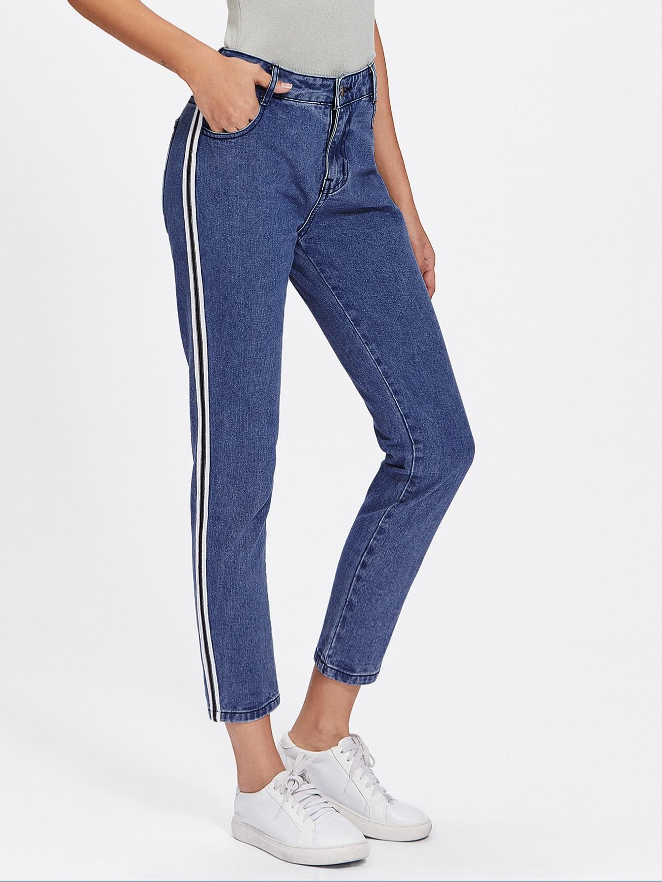 Stripe Side Jeans Shein Sheinside
