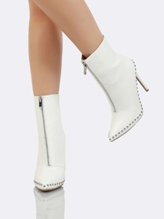 Front Zipper with Studded Accent Ankle Boot WHITE