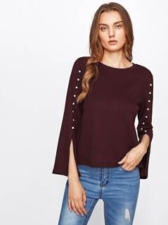 Pearl Beaded Split Sleeve Top