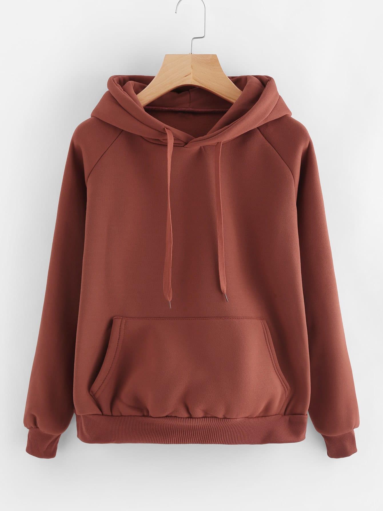 Kangaroo Pocket Drawstring Hoodie plaid kangaroo pocket hoodie