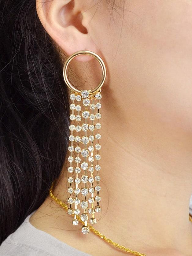 Chain Long Tassel Drop Earrings Luxury Full Rhinestone rhinestone ball hook long chain earrings