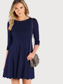 Scallop Trim Solid Flared Dress