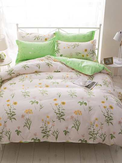1.2m 4Pcs Flower Print Duvet Cover Set