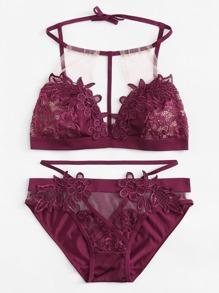 Mesh Insert Crochet Lace Lingerie Set