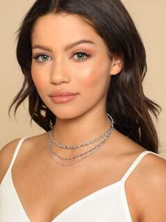Star Printed Choker Necklace SILVER