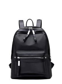 Pocket Front Double Zipper Design Backpack
