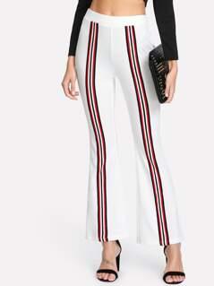Striped Front Flare Hem Pants