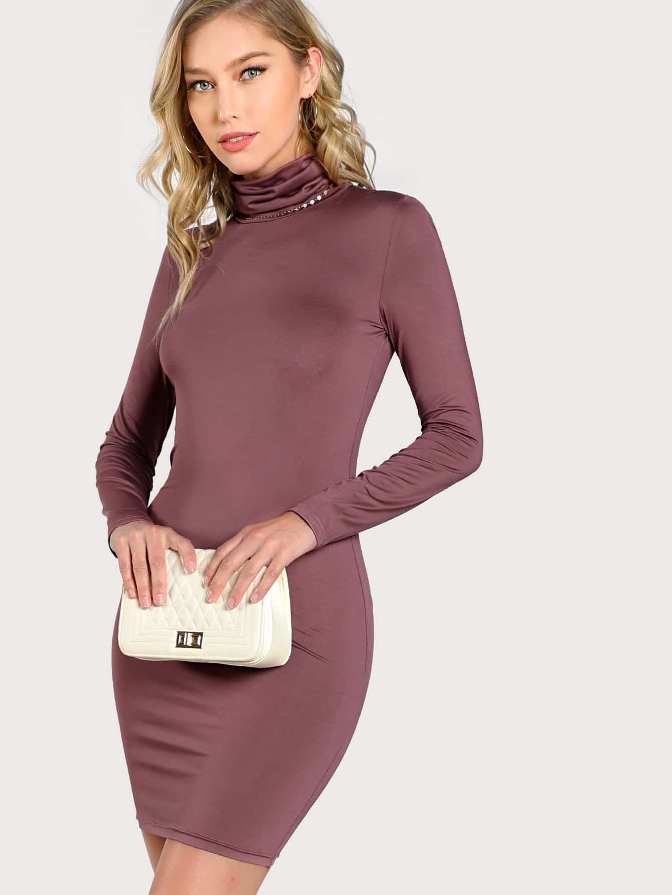 High Neck Form Fitting Dress metallic form fitting dress
