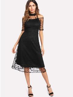 Illusion Neck Star Mesh Overlay Dress