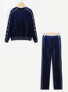 Button Detail Velvet Pullover & Pants Set