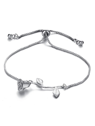 Metal Rose Detail Link Bracelet