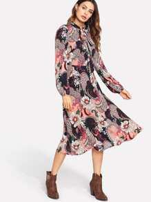 Lantern Sleeve Tied Neck Floral Dress