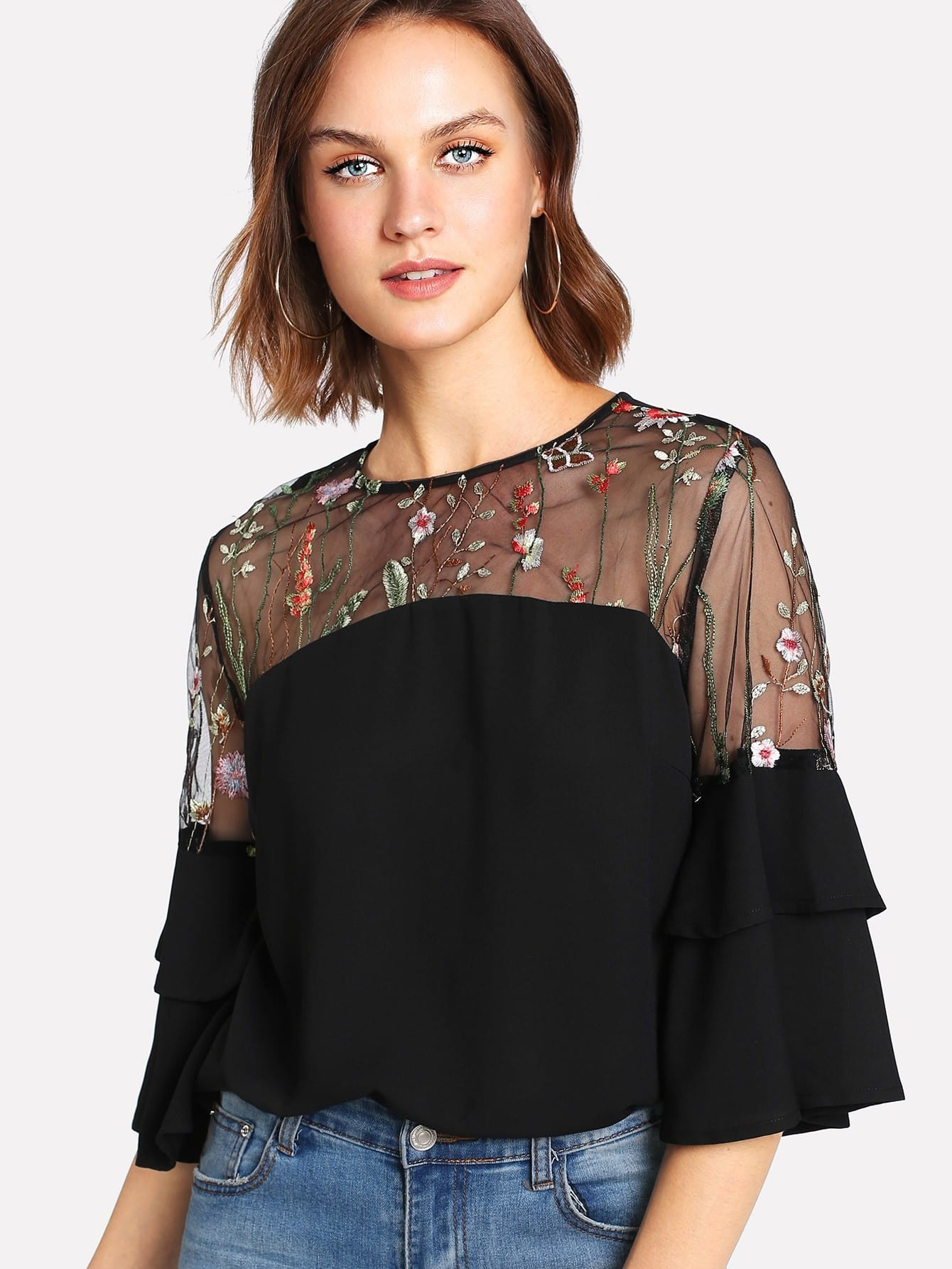 Embroidered Mesh Shoulder Ruffle Sleeve Top mesh shoulder ruffle floral top