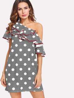 Contrast Binding Layered Asymmetric Shoulder Dress